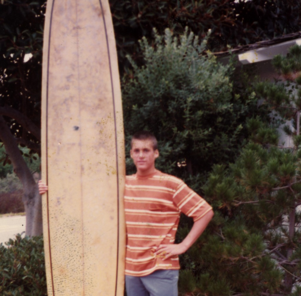 In high school, surfboard