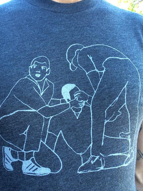 detail of the Injury shirt